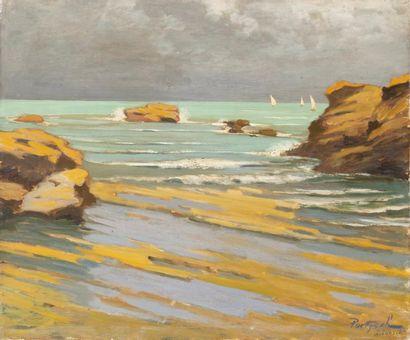 Rochers à Biarritz Huile sur toile, signée et située en bas à droite 46 x 55cm