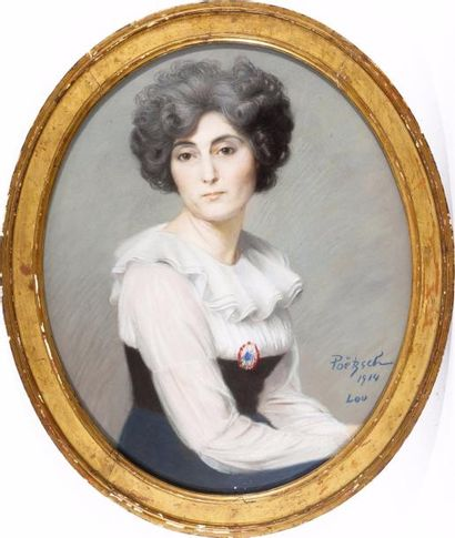 Portrait de Lou à la cocarde Pastel ovale,...