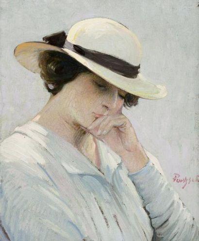 Marie Louise au chapeau de paille Huile sur...