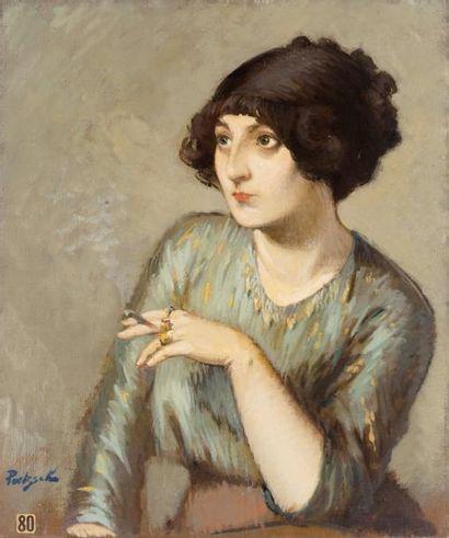 Jeune femme à la cigarette Huile sur toile,...