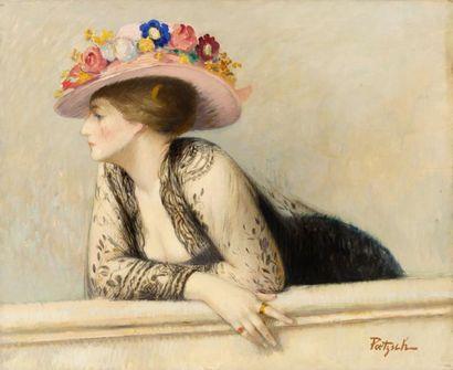 Elégante au chapeau à fleurs Huile sur toile,...