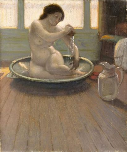 Jeune femme au tub Huile sur toile, signée...