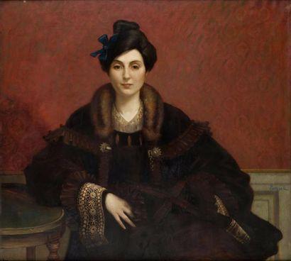 Portrait d'élégante au col de fourrure Huile...