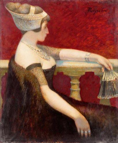 Jeune femme à l'éventail Huile sur toile,...