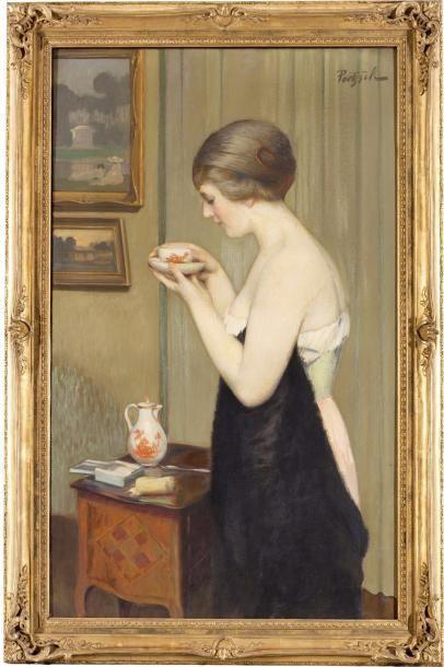 Jeune femme buvant une tasse de thé Huile...