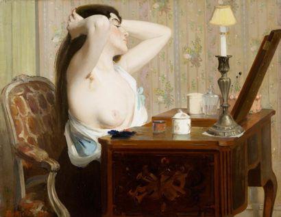 Jeune femme à la coiffeuse Huile sur toile,...
