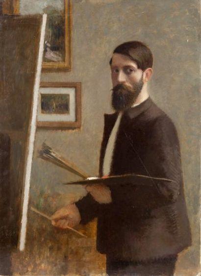 Autoportrait au chevalet Huile sur panneau,...