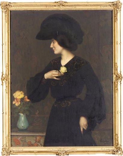 Portrait d'élégante de profil Huile sur toile,...