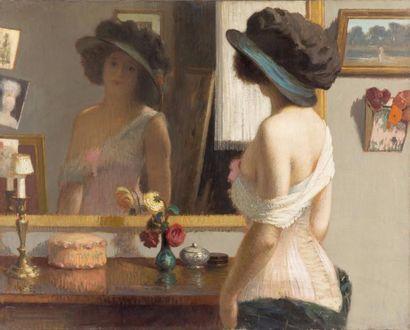 Jeune fille en guépière au miroir Huile sur...