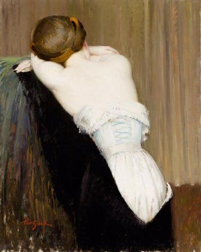 Nu de dos au corset Huile sur toile, signée...