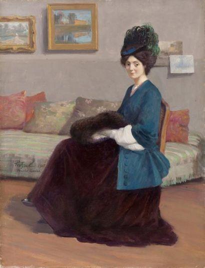 Marie-Louise dans l'atelier Huile sur toile,...