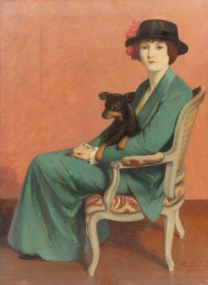 Elégante assise au chapeau Huile sur toile,...