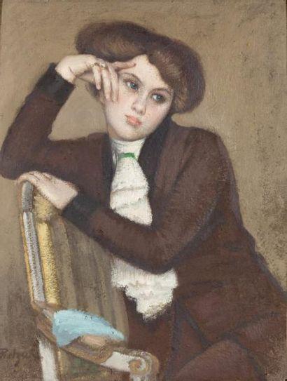 Portrait d'une jeune femme aux yeux bleus...