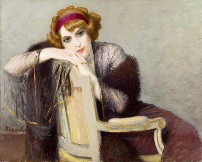 Femme au bandeau rouge Huile sur toile, signée...