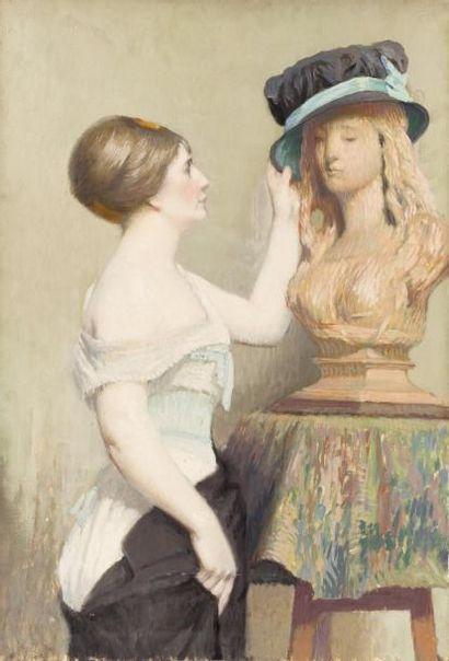 Jeune femme coifffant une statue Huile sur...