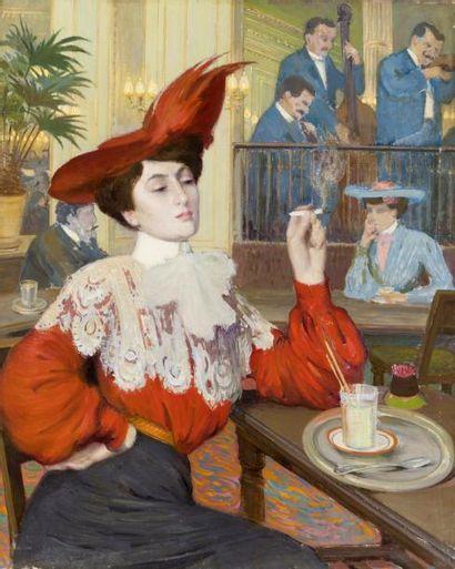 Elégante au café Huile sur toile, signée...