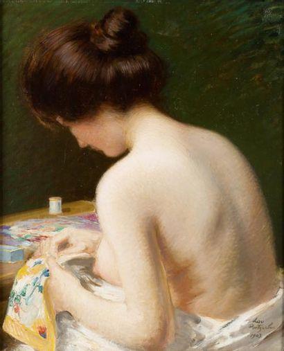 Portrait de Lou à la couture Huile sur toile,...