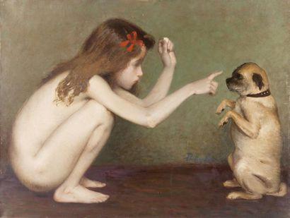 Marie-Thérèse jouant avec un petit chien...