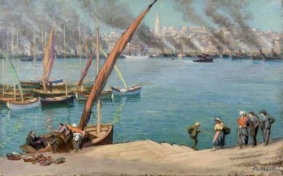 Pêcheurs sur le port de Marseille Huile sur...