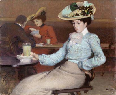 L'élégante au verre d'absinthe Huile sur...