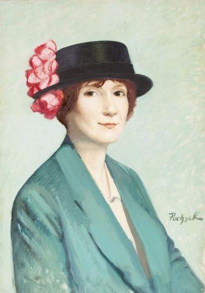 Portrait de femme au chapeau fleuri Huile...
