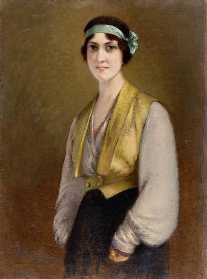 Portrait de Carmen au bandeau turquoise Huile...