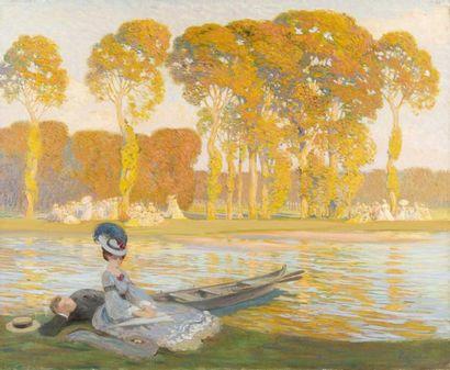 Le repos des canotiers Huile sur toile, signée...