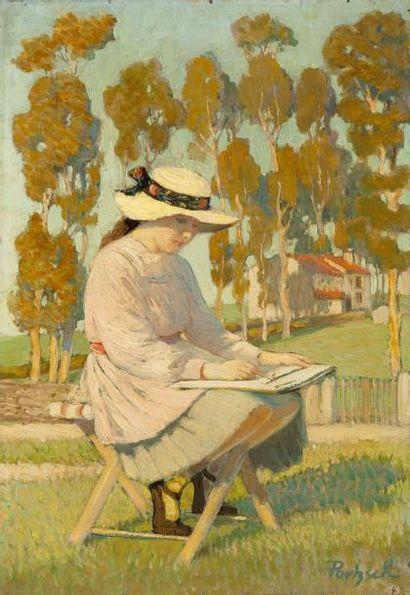 Marie-Thérèse dessinant dans la campagne...