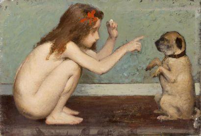 Jeune fille jouant avec un petit chien Huile...