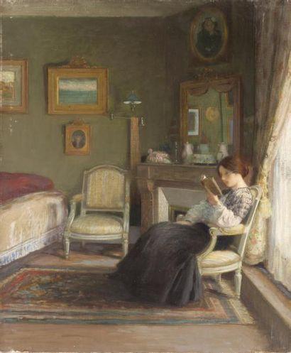 Jeune femme lisant dans un intérieur Huile...