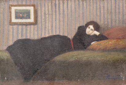 Femme étendue à la robe noire Huile sur carton...