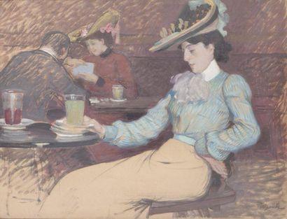 Elégante au verre d'absinthe Huile sur carton,...