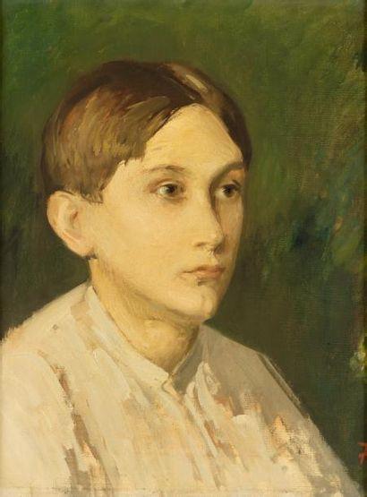 Portrait d'enfant Huile sur toile, signée...