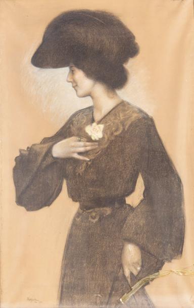 Elégante au grand chapeau Pastel sur papier,...