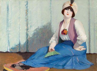 Femme au turban et à l'aigrette Huile sur...