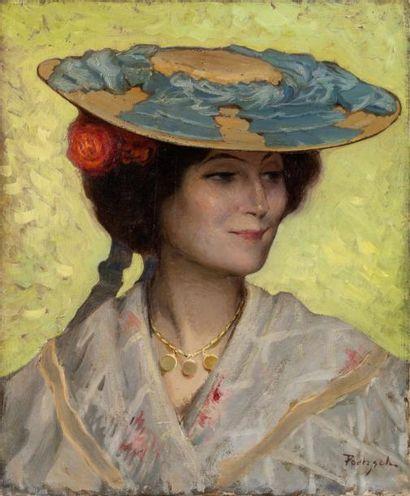 Portrait de la niçoise Huile sur toile, signée...