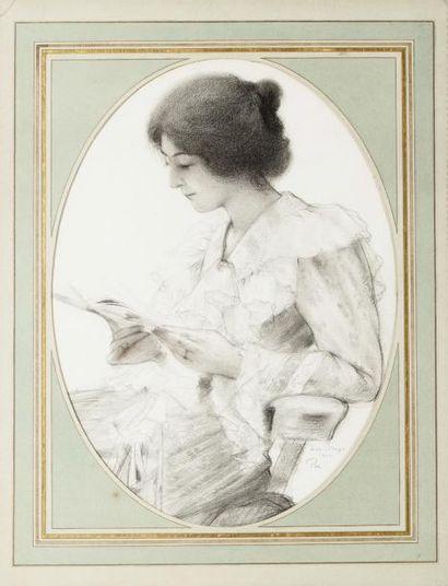 Portrait de Lou à la lecture Dessin ovale...