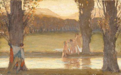 Baigneuses au crépuscule Huile sur toile,...