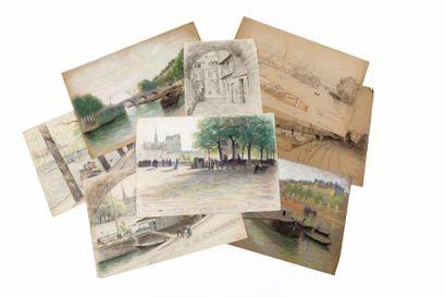 Les ponts de Paris, pastels.  • Le pont Louis-Philippe,...