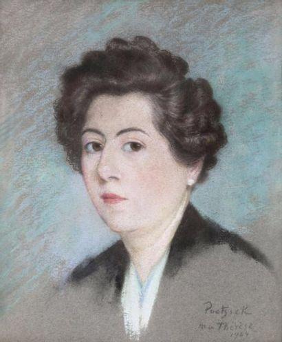 Portrait de Marie-Thérèse Pastel, signé en...