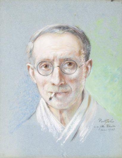 Portrait de l'artiste, 1943 Pastel, signé...