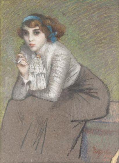 Jeune femme à la cigarette 1900 Pastel, signé,...