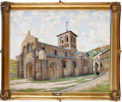 L'église de Chamalières Huile sur panneau,...