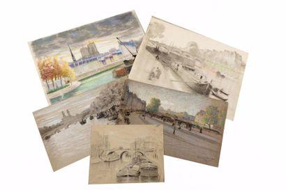 Vues de Paris Lot de huit dessins, pastels,...