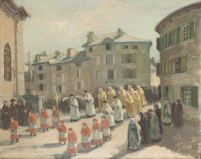 Procession du 15 août Huile sur toile, non...
