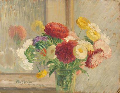 Vase de fleurs Huile sur carton, signée en...