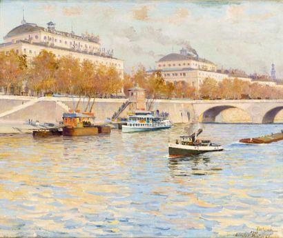 Bateaux au Châtelet Huile sur toile, signée...