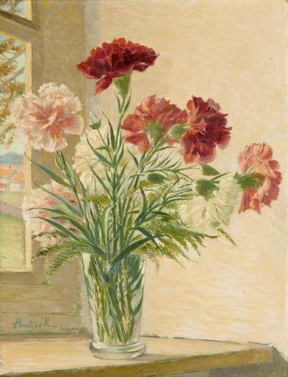 Vase d'œillets Huile sur carton, signée en...
