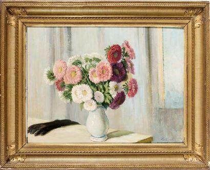 Bouquet de dahlias au gant Huile, signée...