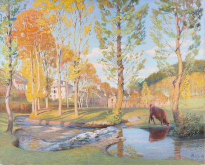 Le ruisseau à Yssingeaux Huile sur toile,...